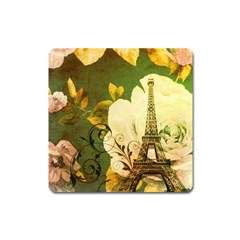 Floral Eiffel Tower Vintage French Paris Magnet (square) by chicelegantboutique