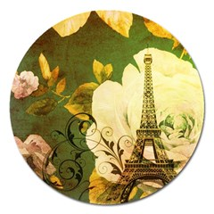 Floral Eiffel Tower Vintage French Paris Magnet 5  (round) by chicelegantboutique