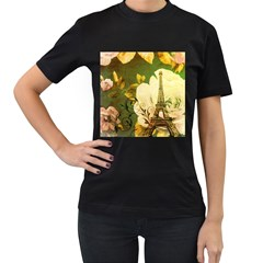 Floral Eiffel Tower Vintage French Paris Womens' Two Sided T Shirt (black) by chicelegantboutique