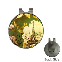 Floral Eiffel Tower Vintage French Paris Hat Clip With Golf Ball Marker