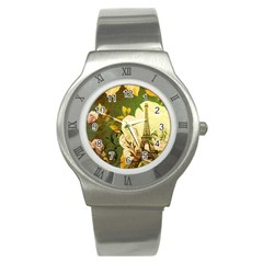 Floral Eiffel Tower Vintage French Paris Stainless Steel Watch (unisex) by chicelegantboutique