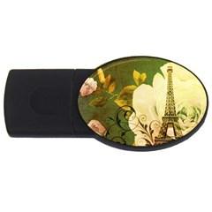 Floral Eiffel Tower Vintage French Paris 4gb Usb Flash Drive (oval) by chicelegantboutique
