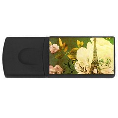 Floral Eiffel Tower Vintage French Paris 4gb Usb Flash Drive (rectangle) by chicelegantboutique