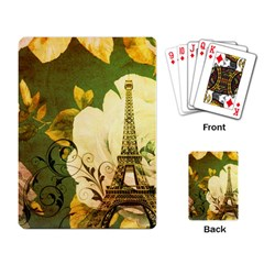Floral Eiffel Tower Vintage French Paris Playing Cards Single Design by chicelegantboutique