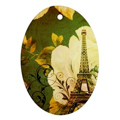 Floral Eiffel Tower Vintage French Paris Oval Ornament (two Sides) by chicelegantboutique