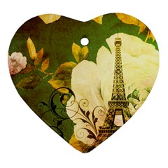 Floral Eiffel Tower Vintage French Paris Heart Ornament (two Sides) by chicelegantboutique