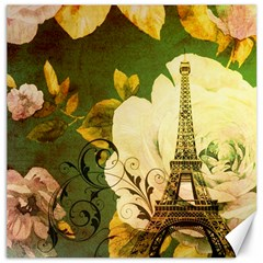 Floral Eiffel Tower Vintage French Paris Canvas 20  X 20  (unframed) by chicelegantboutique