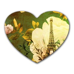 Floral Eiffel Tower Vintage French Paris Mouse Pad (heart) by chicelegantboutique