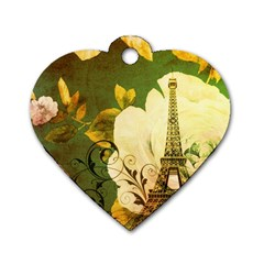 Floral Eiffel Tower Vintage French Paris Dog Tag Heart (one Sided)  by chicelegantboutique