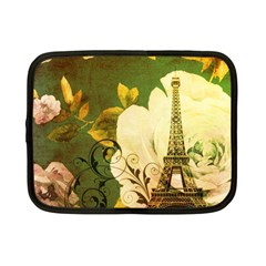 Floral Eiffel Tower Vintage French Paris Netbook Case (small) by chicelegantboutique
