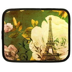 Floral Eiffel Tower Vintage French Paris Netbook Case (large) by chicelegantboutique