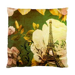Floral Eiffel Tower Vintage French Paris Cushion Case (single Sided)  by chicelegantboutique