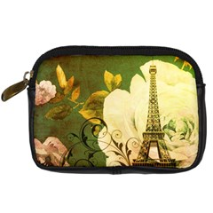 Floral Eiffel Tower Vintage French Paris Digital Camera Leather Case by chicelegantboutique