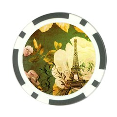 Floral Eiffel Tower Vintage French Paris Poker Chip 10 Pack by chicelegantboutique