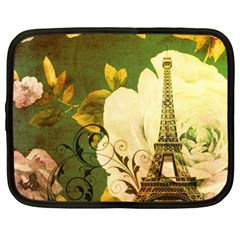 Floral Eiffel Tower Vintage French Paris Netbook Case (xl) by chicelegantboutique