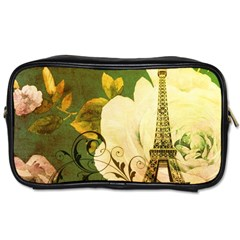 Floral Eiffel Tower Vintage French Paris Travel Toiletry Bag (two Sides) by chicelegantboutique