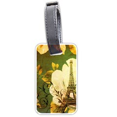 Floral Eiffel Tower Vintage French Paris Luggage Tag (one Side)