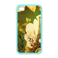 Floral Eiffel Tower Vintage French Paris Apple Iphone 4 Case (color) by chicelegantboutique