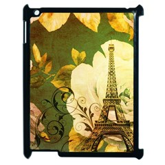 Floral Eiffel Tower Vintage French Paris Apple Ipad 2 Case (black) by chicelegantboutique