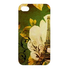 Floral Eiffel Tower Vintage French Paris Apple Iphone 4/4s Hardshell Case by chicelegantboutique
