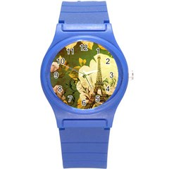 Floral Eiffel Tower Vintage French Paris Plastic Sport Watch (small) by chicelegantboutique