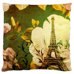 Floral Eiffel Tower Vintage French Paris Large Cushion Case (single Sided)  by chicelegantboutique