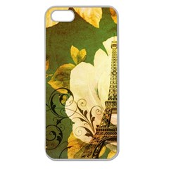 Floral Eiffel Tower Vintage French Paris Apple Seamless Iphone 5 Case (clear) by chicelegantboutique