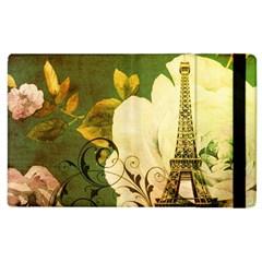 Floral Eiffel Tower Vintage French Paris Apple Ipad 2 Flip Case by chicelegantboutique
