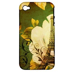 Floral Eiffel Tower Vintage French Paris Apple Iphone 4/4s Hardshell Case (pc+silicone)