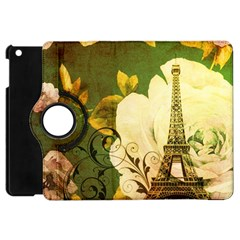 Floral Eiffel Tower Vintage French Paris Apple Ipad Mini Flip 360 Case by chicelegantboutique