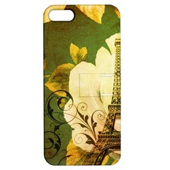 Floral Eiffel Tower Vintage French Paris Apple Iphone 5 Hardshell Case With Stand