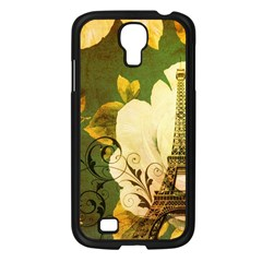 Floral Eiffel Tower Vintage French Paris Samsung Galaxy S4 I9500/ I9505 (black)