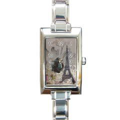 Floral Vintage Paris Eiffel Tower Art Rectangular Italian Charm Watch by chicelegantboutique