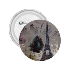 Floral Vintage Paris Eiffel Tower Art 2 25  Button by chicelegantboutique