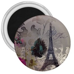 Floral Vintage Paris Eiffel Tower Art 3  Button Magnet by chicelegantboutique