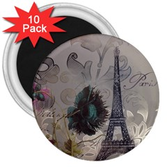 Floral Vintage Paris Eiffel Tower Art 3  Button Magnet (10 Pack) by chicelegantboutique