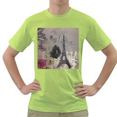 Floral Vintage Paris Eiffel Tower Art Mens  T Shirt (green) by chicelegantboutique