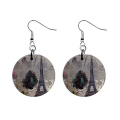 Floral Vintage Paris Eiffel Tower Art Mini Button Earrings by chicelegantboutique