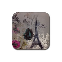 Floral Vintage Paris Eiffel Tower Art Drink Coaster (square) by chicelegantboutique
