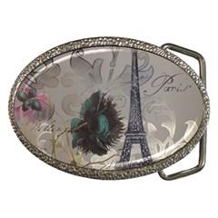 Floral Vintage Paris Eiffel Tower Art Belt Buckle (oval) by chicelegantboutique