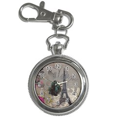 Floral Vintage Paris Eiffel Tower Art Key Chain & Watch by chicelegantboutique