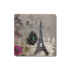 Floral Vintage Paris Eiffel Tower Art Magnet (square) by chicelegantboutique