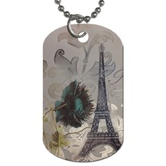 Floral Vintage Paris Eiffel Tower Art Dog Tag (two Sided)  by chicelegantboutique