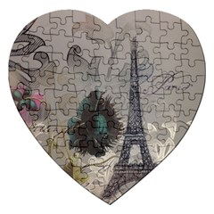 Floral Vintage Paris Eiffel Tower Art Jigsaw Puzzle (heart) by chicelegantboutique