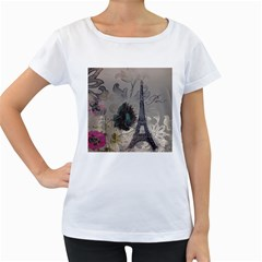 Floral Vintage Paris Eiffel Tower Art Womens' Maternity T Shirt (white) by chicelegantboutique