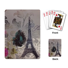 Floral Vintage Paris Eiffel Tower Art Playing Cards Single Design by chicelegantboutique