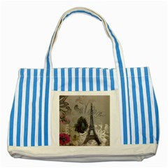 Floral Vintage Paris Eiffel Tower Art Blue Striped Tote Bag by chicelegantboutique