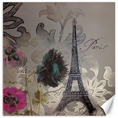 Floral Vintage Paris Eiffel Tower Art Canvas 16  X 16  (unframed) by chicelegantboutique