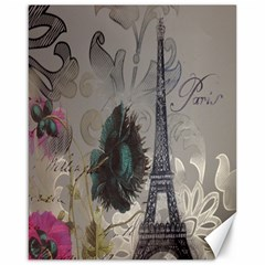 Floral Vintage Paris Eiffel Tower Art Canvas 16  X 20  (unframed) by chicelegantboutique