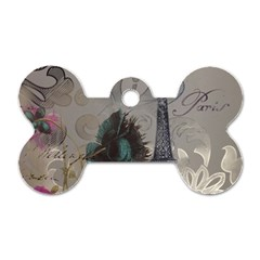 Floral Vintage Paris Eiffel Tower Art Dog Tag Bone (one Sided) by chicelegantboutique